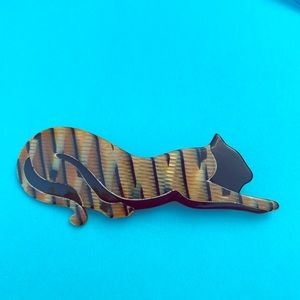 Vintage Lea Stein Paris stretching tiger brooch